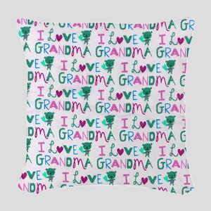 I Love Grandma copyyyy Woven Throw Pillow