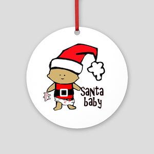 1212 Santa Baby with pink teddy twi Round Ornament