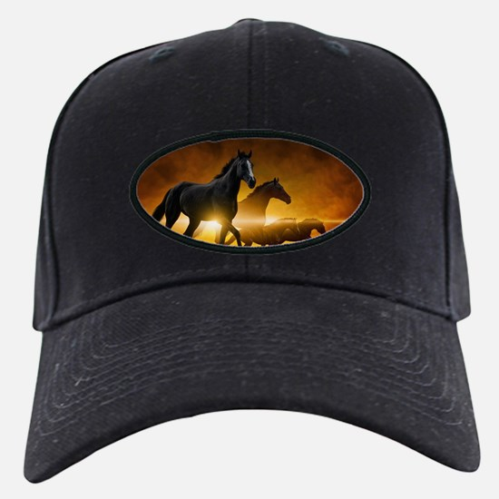 Wild Black Horses Baseball Hat