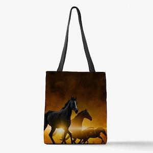 Wild Black Horses Polyester Tote Bag