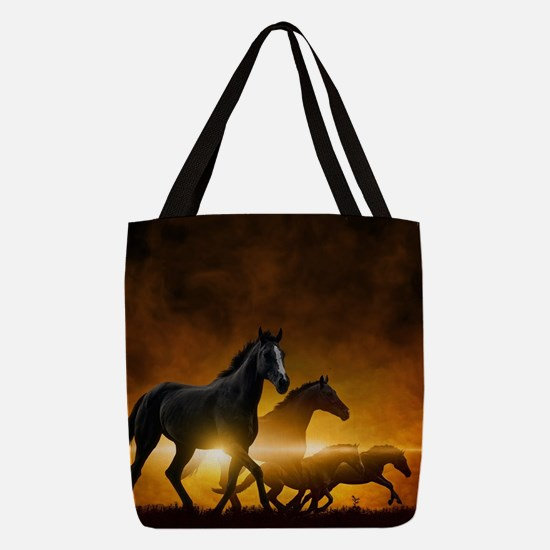 Wild Black Horses Polyester Tote Bag