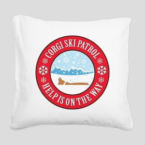 corgi-ski-patrol Square Canvas Pillow