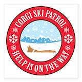 Corgi ski patrol Square Car Magnets