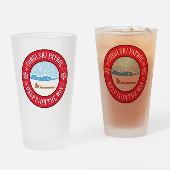 corgi-ski-patrol Drinking Glass