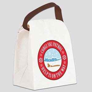 corgi-ski-patrol Canvas Lunch Bag