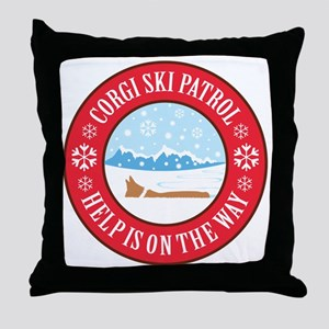 corgi-ski-patrol Throw Pillow