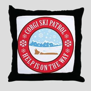 corgi-ski-patrol Throw Pillow