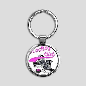 hockey_girl_4 Round Keychain