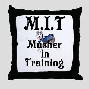 Siberian Husky Dog Sled Musher Throw Pillow