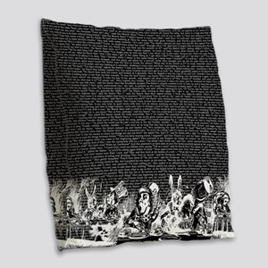 alice-vintage-border_black_18x Burlap Throw Pillow