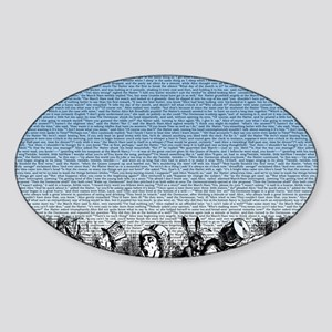 alice-vintage-border_blue_18x21h Sticker (Oval)