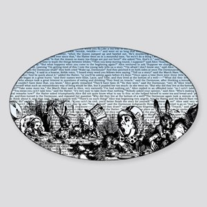 alice-vintage-border_blue_12-5x18h Sticker (Oval)