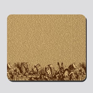 alice-vintage-border_brown_18x18 Mousepad