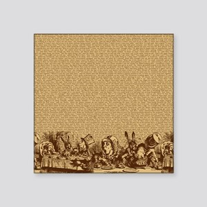 "alice-vintage-border_brown_ Square Sticker 3"" x 3"""