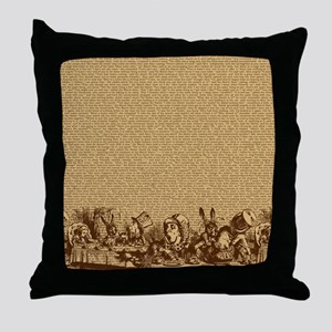 alice-vintage-border_brown_18x18 Throw Pillow