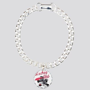 hockey_girl_red Charm Bracelet, One Charm