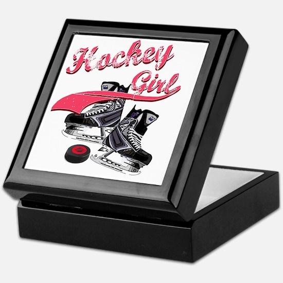 hockey_girl_red Keepsake Box
