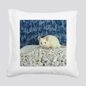 Winter Mouse Square Canvas Pillow