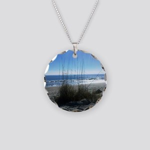 Day at the Beach Necklace Circle Charm