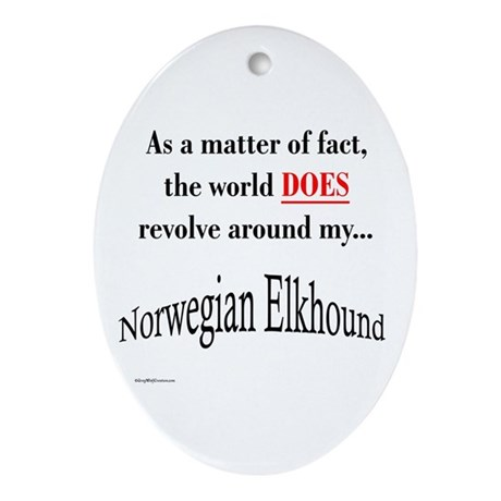 Elkhound World Oval Ornament