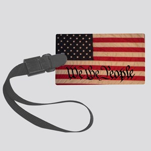 WE THE PEOPLE WITH FLAG OF AMERI Large Luggage Tag