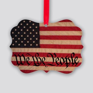 WE THE PEOPLE WITH FLAG OF AMERIC Picture Ornament