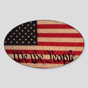 WE THE PEOPLE WITH FLAG OF AMERICA Sticker (Oval)