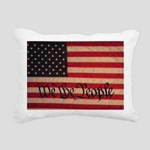 WE THE PEOPLE WITH FLAG  Rectangular Canvas Pillow