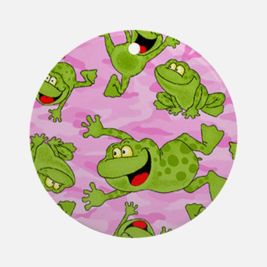 Leaping Frogs Round Ornament