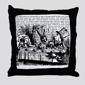 alice-vintage-border_bw_9x9 Throw Pillow