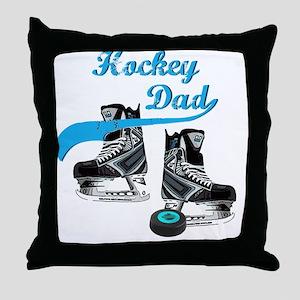 hockey_dad_blue Throw Pillow