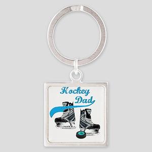 hockey_dad_blue Square Keychain