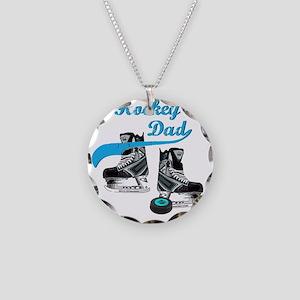 hockey_dad_blue Necklace Circle Charm