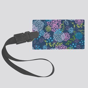 LayerFlowers_Blue_1_44 Large Luggage Tag