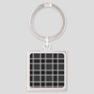 PlaidClassic_Black1_78 Square Keychain