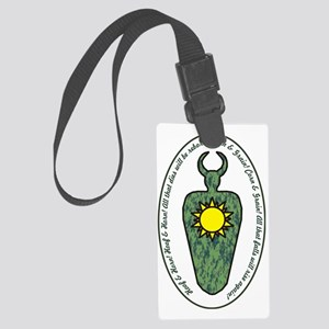 Horned God with words Large Luggage Tag