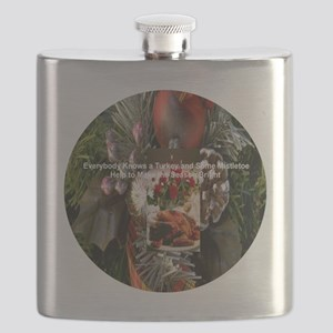 Everybody Knows a Turkey and some mistletoe  Flask