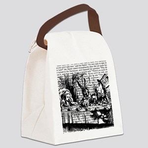 alice-vintage-border_bw_12-5x13-5 Canvas Lunch Bag
