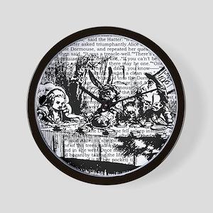 alice-vintage-border_bw_12-5x13-5h Wall Clock