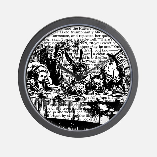 alice-vintage-border_bw_12-5x13-5h Wall Clock