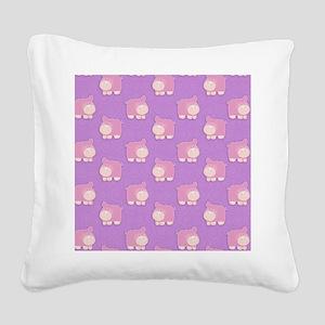 Pink Hippo Purple Flip Flops Square Canvas Pillow