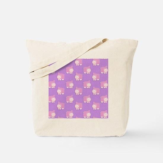 Pink Hippo Purple Flip Flops Tote Bag