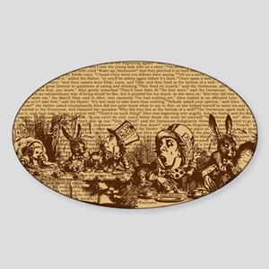 alice-vintage-border_brown_10-833x1 Sticker (Oval)