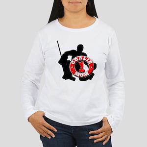 Hockey Goalie Mom #1 Women's Long Sleeve T-Shirt