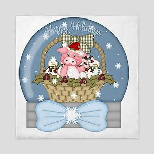 christmas pig glober-001 Queen Duvet