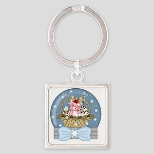 christmas pig glober-001 Square Keychain