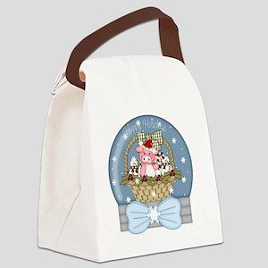 christmas pig glober-001 Canvas Lunch Bag