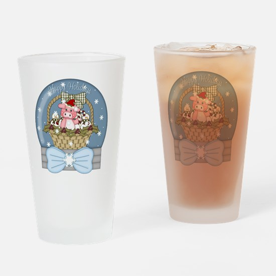 christmas pig glober-001 Drinking Glass
