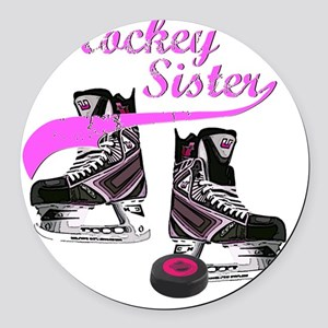 hockey_sister_pink Round Car Magnet