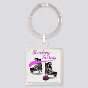 hockey_sister_pink Square Keychain